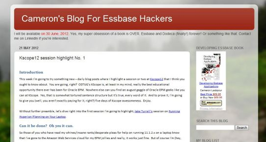 Cameron's Blog for Essbase Hackers